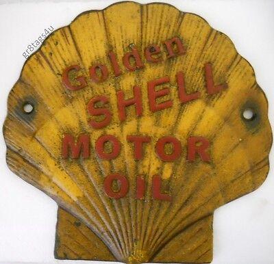 Shell motor oil clam shape sign cast iron