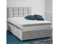 Silver King size divan with memory foam mattress