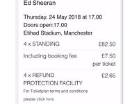 4 ED SHEERAN TICKETS ETIHAD STADIUM 24th MAY 2018