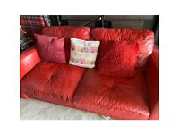Free to uplift red leather sofa