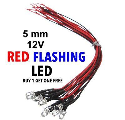 Red 5mm 12v Prewired Blinking Led 2pcs