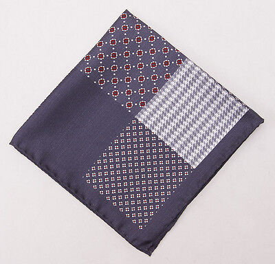 New $130 BATTISTI NAPOLI Charcoal Gray Multi Pattern Printed Silk Pocket Square