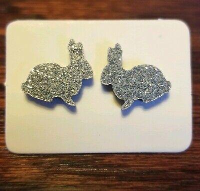 Silver Glitter Bunny Acrylic Stud Earrings
