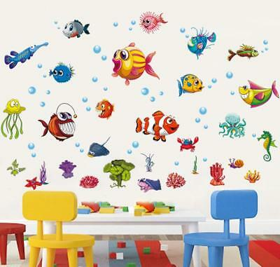Fish Decor For Walls (Removable Wall Sticker Fish Decal For Kids Children Room Bathroom Decor)