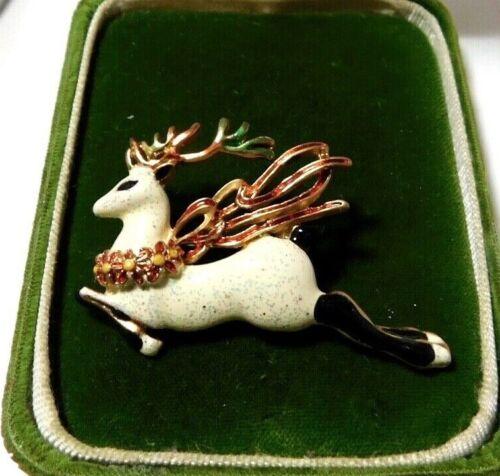 Vintage Christmas RainDeer Holidays Red Enamel Brooch Gold Tone Pin K3