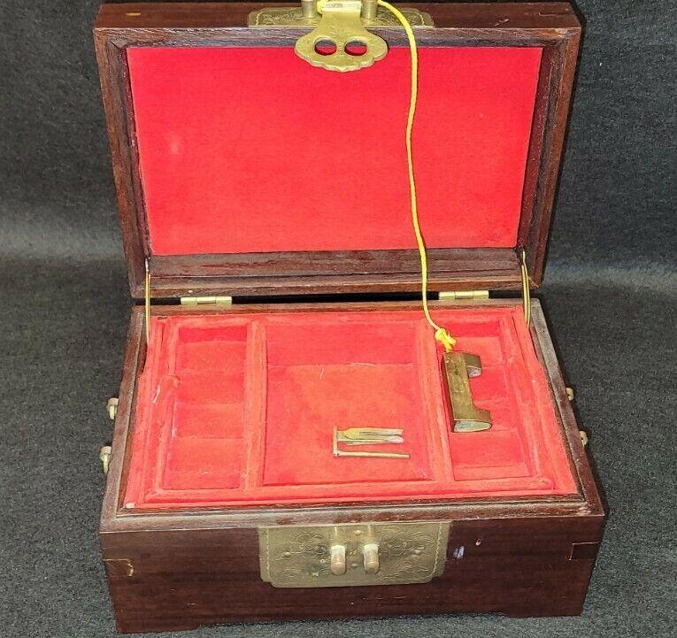Vintage Asian Chinese Wood & Brass Jewelry Box Cabinet w/Lock & Key