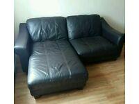 DFS Brown Leather corner settee