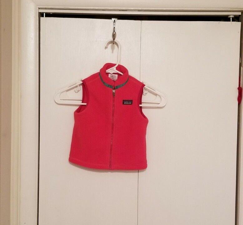 Patagonia Baby Synchilla Vest Size 2T Pink Full Zip Fleece Lightweight EUC