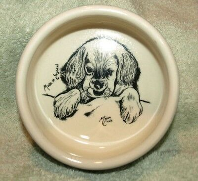"Vintage **MASON CASH** Ceramic Blue/White, Dog, Feeding 5"" Bowl w/Puppy Inside"