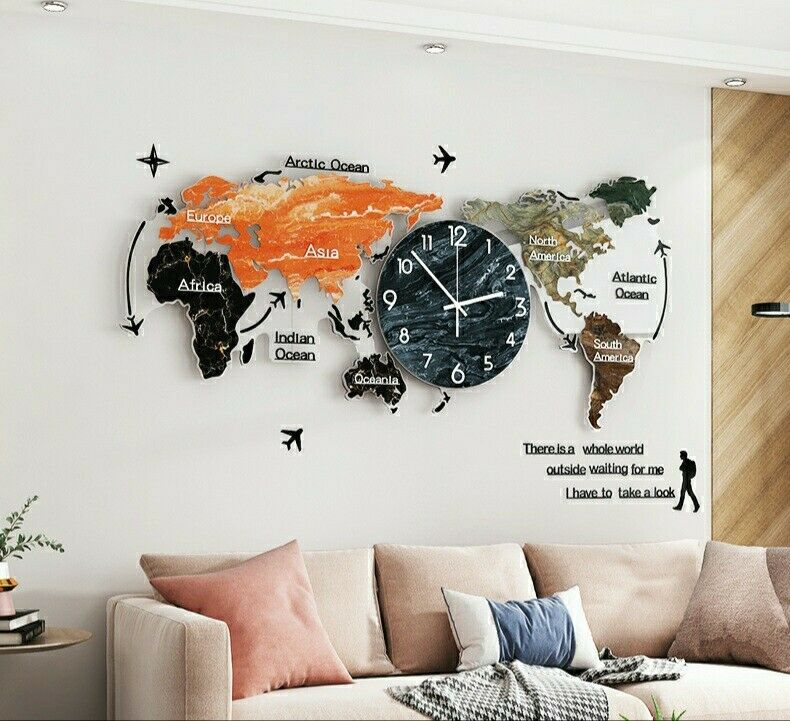 Large decorative wall clocks WORLDMAP wall art/clocks Anti Rust, 74cm×34cm