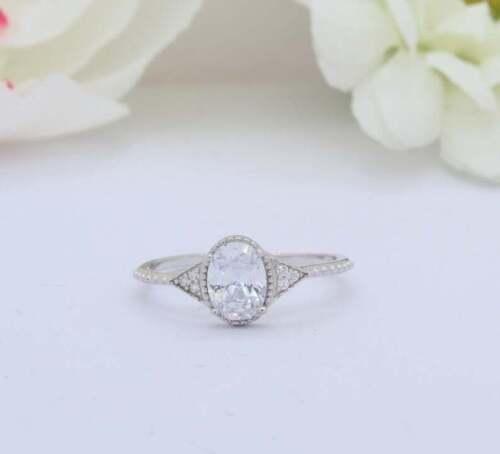 Gorgeous Engagement  Wedding Milgrain Ring 14k White Gold  2.13 Ct Oval Diamond