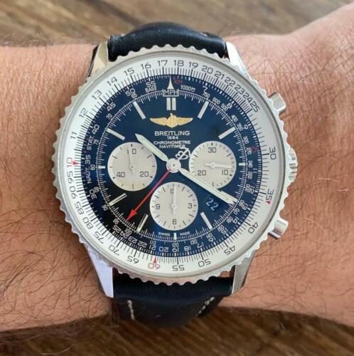 BREITLING NAVITIMER 01 AB0127 CHRONOMETRE WATCH 100% GENUINE 46 MM BLACK DIAL - watch picture 1