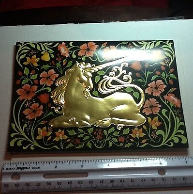 #108- Vintage Unused Greeting Card Shiny Golden Unicorn Surrounded By Flowers