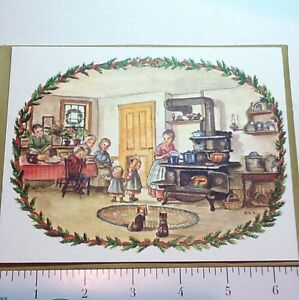 #B757- Vintage Tasha Tudor Xmas Greeting Card  Family In Old Fashioned Kitchen