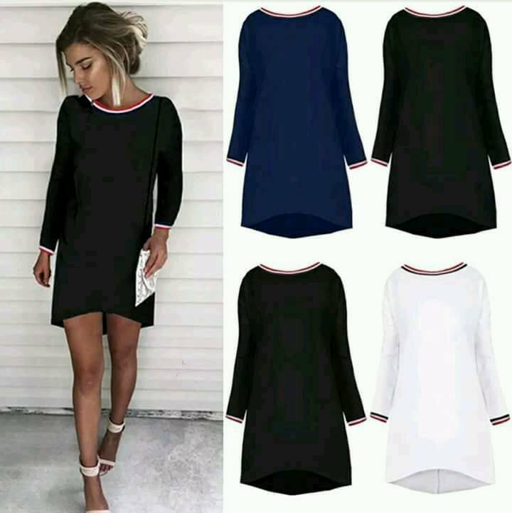 Long sleeve dipped hem dress