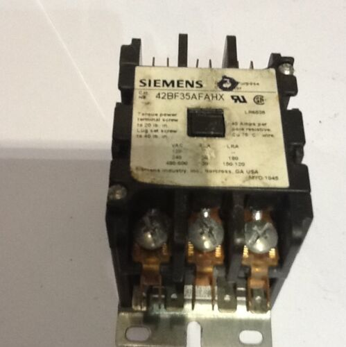 Siemens Industrial Definite Purpose Contactor 42BF35AFAHX 30A 10HP 120VAC Coil