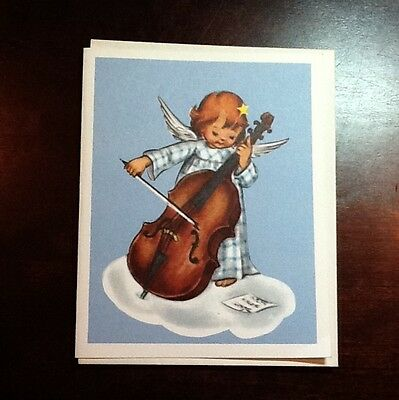 #36- Vintage Crestwick Xmas Greeting Card Angel Playing Cello, Precious, Unused