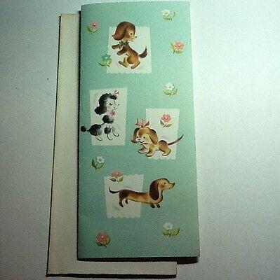 A595- Vintage Unused Greeting Card Cute Dogs & Flowers Poodle, Dauchshand Too!