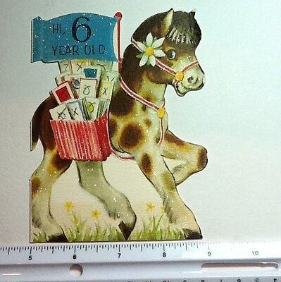 #73- Vintage Hallmark Glittered Carousel Horse Birthday Greeting Card, Adorable