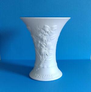 Large Vintage White Bisque Vase Kaiser Germany Dogwood M. Frey