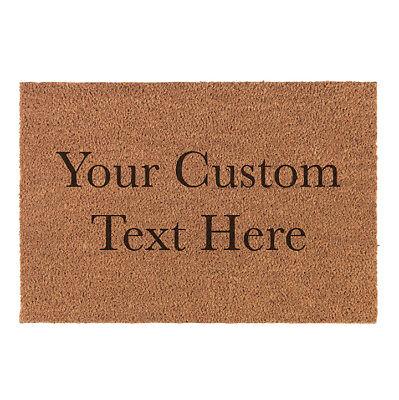 Custom Personalized Your Text Here Natural Fiber Laser Engraved Doormat Door Mat ()