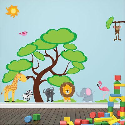African Safari Jungle Animal Tree Giraffe Lion Elephant Monkey Wall Art Stickers ()