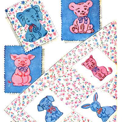 Kids Quilt Patterns (Vintage Quilt Pattern ~ Child's Crib Quilt Animals )