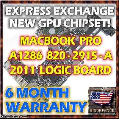 "EXCHANGE MACBOOK PRO 15"" A1286 820-2915-A 2011 LOGIC BOARD REPAIR NEW GPU REBALL"