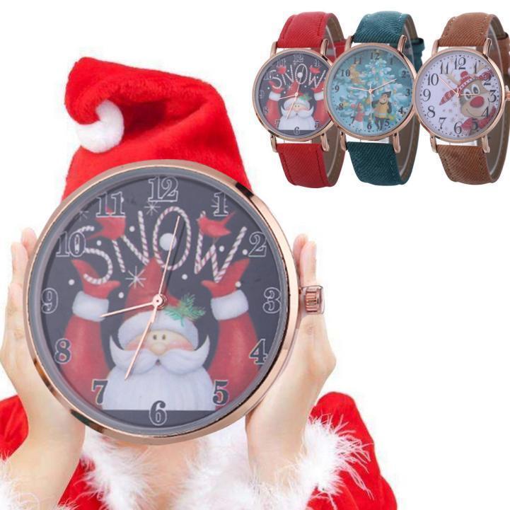 Women Fashion Christmas Pattern Quartz Analog Watches Leather Band Wrist Watch