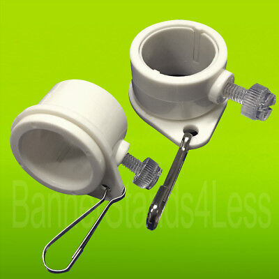 """2 Pcs Flagpole ROTATING CLIPS Fit 1"""" Dia Flag Pole Tangle Free Mounting Rings wb"""
