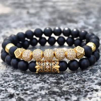 Men Luxury Gold Micro Pave CZ Ball Crown Bracelets Jewelry Matte Agate Bead Set