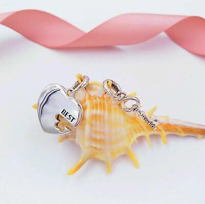 Original 100% S925 Sterling Silver Best Friends Heart & Key Pendant Dangle CZ 🕊
