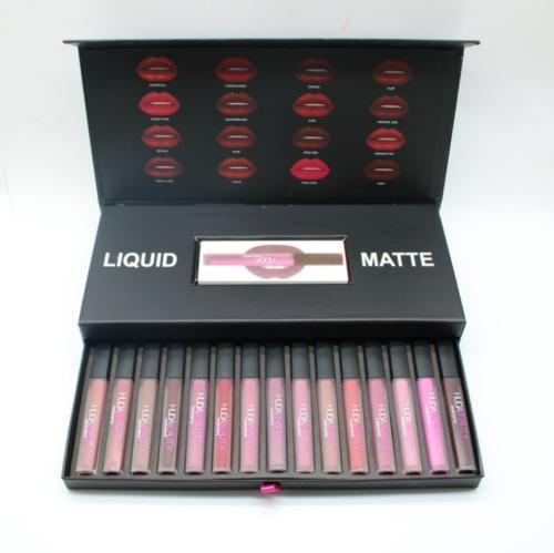 Fashion HUDA Beauty Kosmetik liquid matte lippenstift lipgloss 16pcs/set Farben