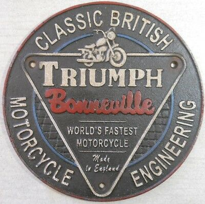 Triumph Bonneville Motorcycle Round Cast Sign Iron Classic British Plaque