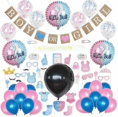 Gender Reveal Set Party Decoration Supplies and Baby Shower Boy or Girl Kit UK ()