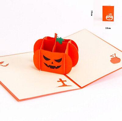 3D Pop Up Card Halloween Angry Pumpkin Hallowmas Creative Gift New Hot Cards