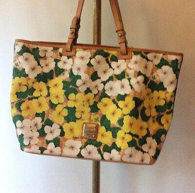 Dooney & Bourke Dogwood Flower White Yellow Signature Logo Tote Large Bag](Dogwood Bloom)