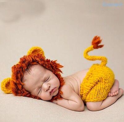 Neugeborene Baby Knit Strick Fotoshooting Kostüm Löwe Lion Mütze Höschen ()
