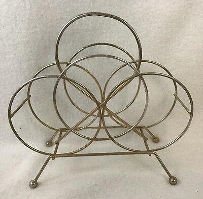 Mid Century Modern Metal Circles Paper Napkin Holder Gold Tone Wire Vintage