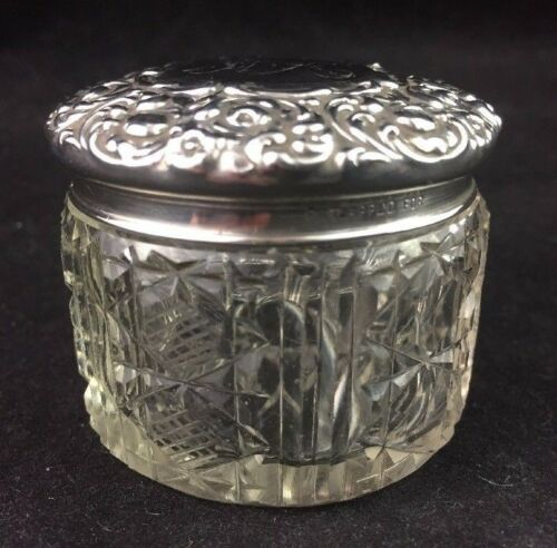Cut Crystal Dresser Jar w/ Unger Brothers Sterling Lid PASSAIC circa 1900