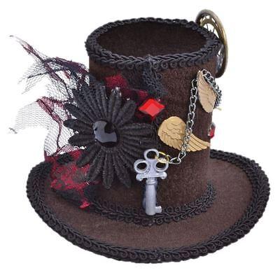 Steampunk Mini Top Hat Cappello a Cilindro Gotico Cappellaio Matto Halloween