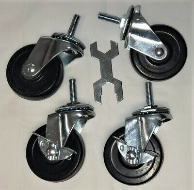 Caster Wheels Casters Set Of 4 3 Inch Rubber Heavy Duty Threaded Stem Mount