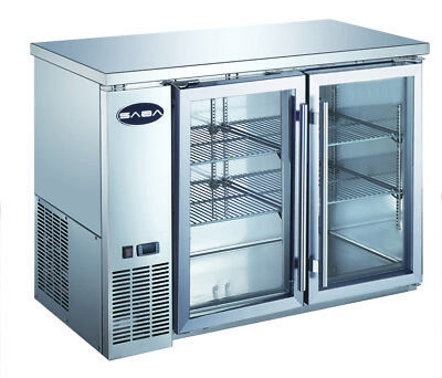Saba 48 Back Bar Refrigerator Beverage Cooler 2 Glass Doors 24 Depth