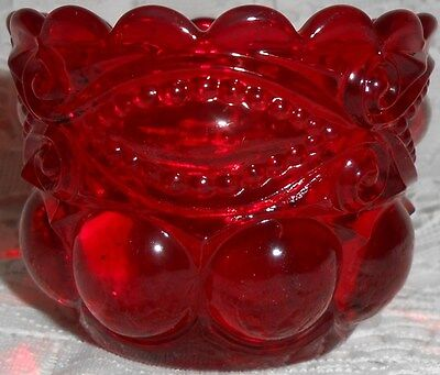 Ruby Red glass open salt dip / cellar / celt eyewinker pattern art master royal