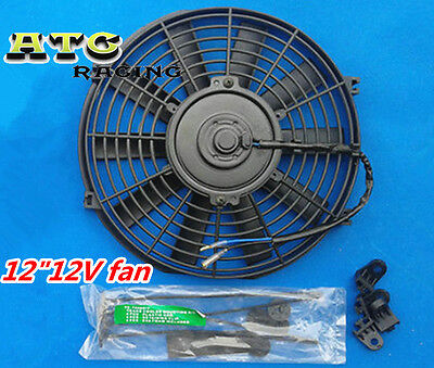 "SLIM 12"" INCH 12V PULL PUSH ELECTRIC RADIATOR ENGINE BAY COOLING FAN UNIVERSAL"