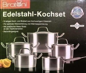 Bratoni Edelstahl-Kochtopfset 9-teilig Suppentopf Edelstahltopf Topf Induktion