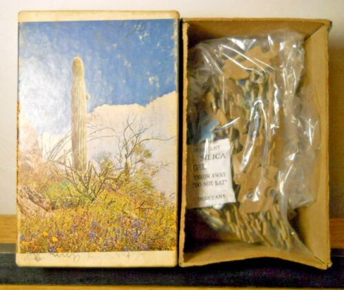 1960s Built-Rite Mini Puzzle TREASURED HILLSIDE No 555 Western Landscape Cactus