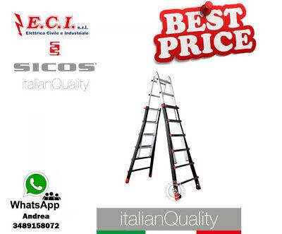 SICOS 045.155 - Ius Pro Escalera Profesional Telescópico de Aluminio Lámina 5+5