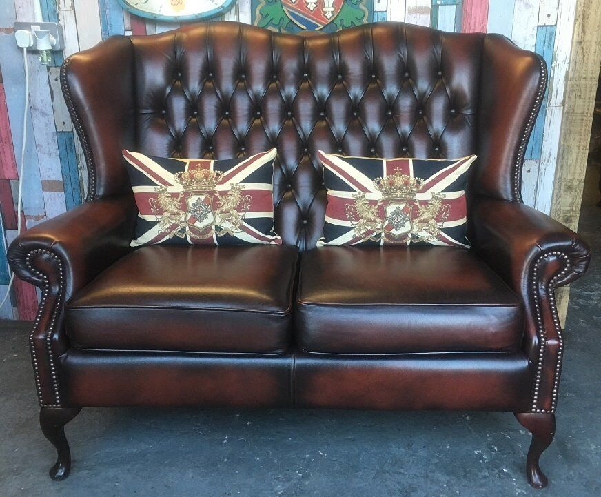 Groovy Stunning Immaculate Chesterfield 2 Seater Queen Anne Wing Back Sofa Brown Leather Uk Delivery In Whickham Tyne And Wear Gumtree Download Free Architecture Designs Scobabritishbridgeorg