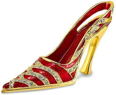 Bejeweled Crystal Enameled Red High Heel Business Card Holder